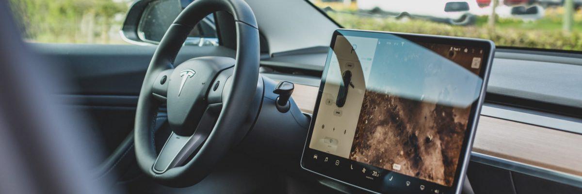 turned on Tesla car GPS navigator